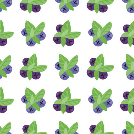 Blueberry with leafs seamless pattern. Hand drawn lettering with for social media content