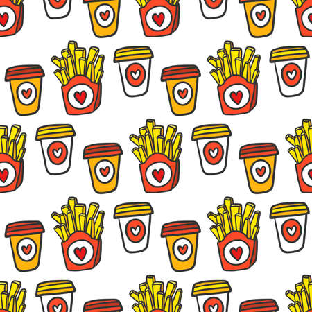 French fries with paper plastic coffee cups to go. Seamless pattern 矢量图像