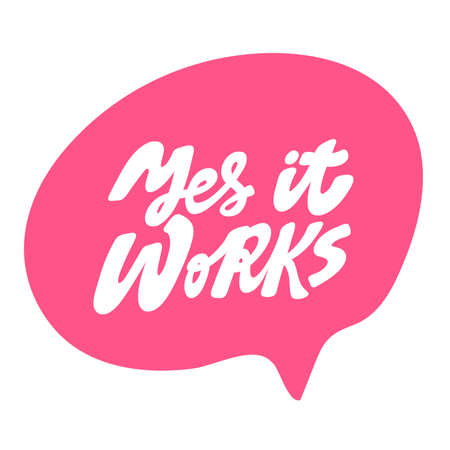 Yes it Works. Hand drawn lettering logo for social media content 向量圖像