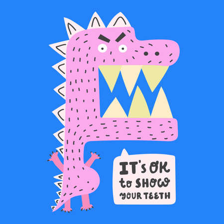 Its Ok to show your teeth. Hand drawn flat pink dinosaur on blue background.