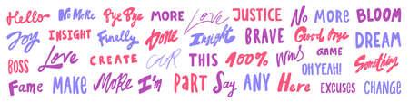 Vector hand drawn sticker words set collection.