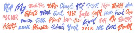 Vector hand drawn sticker words set collection. Vektoros illusztráció