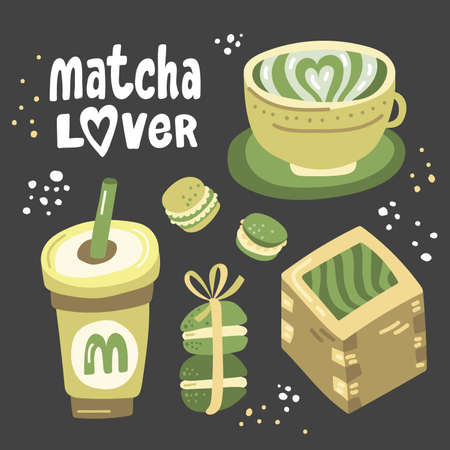 Matcha lover. Vector hand drawn matcha illustration on contrast background. Cake, macaroons, spoon, bamboo whisk, heart, matcha tea