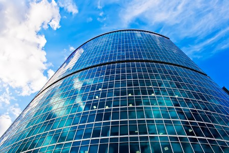 Clouds reflection in Office Building, Moscow, Russia photo