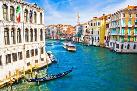 canals: Beautiful water street - Grand Canal in Venice, Italy