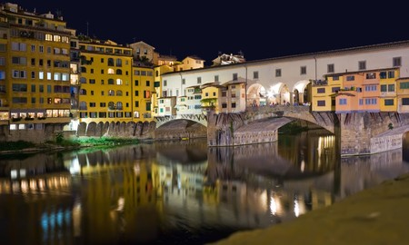 Ponte Vecchio in Florence at night. Italy, 2008. photo