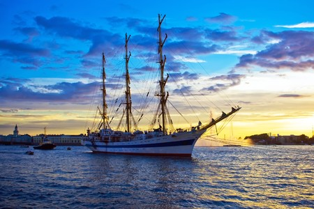 A sailing ship anchored in Neva river, Saint Petersburg.  Stock Photo