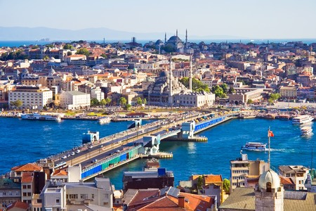 constantinople ancient: View from Galata tower to Golden Horn, Istanbul, Turkey Stock Photo