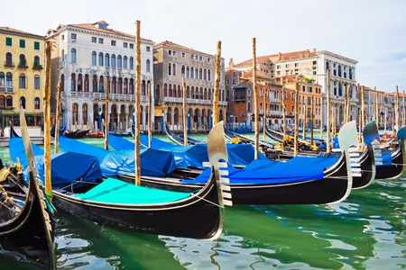 Gondola boats on Grand Canal in Venice, Italy