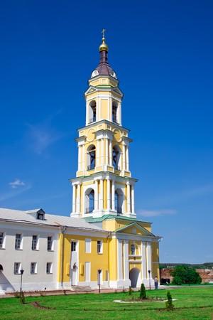 High yellow belfry in Staro-Golutvin monastery, Kolomna, Russia photo