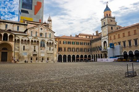 VIew of the Cathedral and Ghirlandina tower in Modena, Italy
