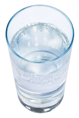 quencher: Glass of clear water on a white isolated background