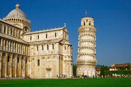 Scheve toren van Pisa op het plein van wonderen, Italië Stockfoto