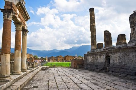 Ancient ruins of an old roman city Pompeii, Italy photo
