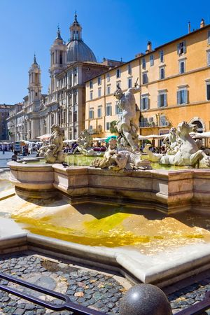 Fountain on famous square Piazza Navona in Rome, Italy Stock Photo