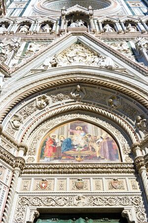 Frontal bas-reliefs of the Florence Cathedral in Italy photo