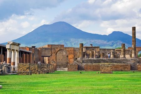 Ancient ruins of Pompeii and volcano Vesuvius, Italy Stock Photo