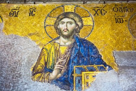iconography: Mosaic of Jesus Christ in Hagia Sofia, Istanbul, Turkey Editorial