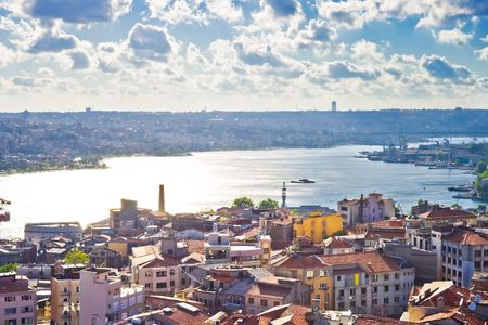 View from Galata tower to Golden Horn, Istanbul, Turkey Stock fotó