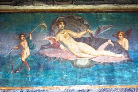 painting wall: Pintura mural romana Venus en Pompeya, Italia