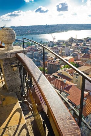 constantinople ancient: View from the top of Galata tower to Golden Horn, Istanbul, Turkey Stock Photo