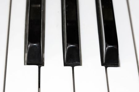 Closeup perspective view of a piano keyboard Stock Photo - 4691810