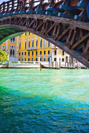 academia: View of Academia Bridge bridge over Grand Canal in Venice Stock Photo