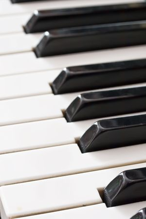 Closeup view of an old piano keyboard Stock Photo - 4691890