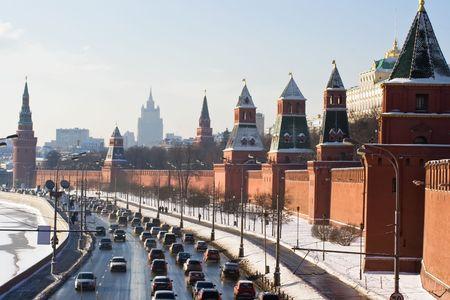 Moscow Kremlin wall and Moskva river photo