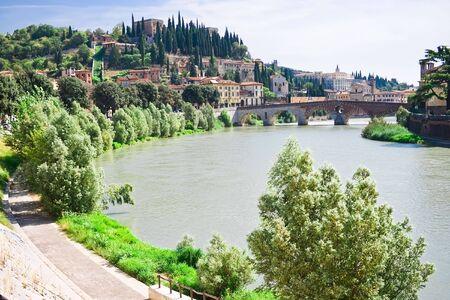 Verona landscape with a bridge over Adige, Italy Stock Photo - 4707928