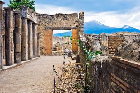 Ruins of ancient roman columns in Pompeii, Italy photo