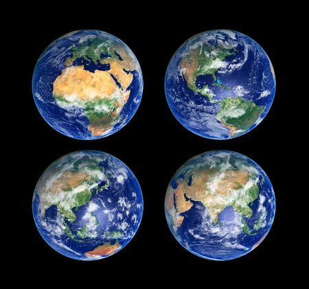 planisphere: Quattro globi di terra con nuvole, immagini ad alta risoluzione