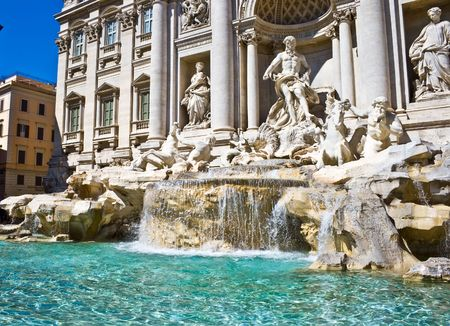 Famous sightseeing Trevi fountain in Rome, Italy Stock Photo