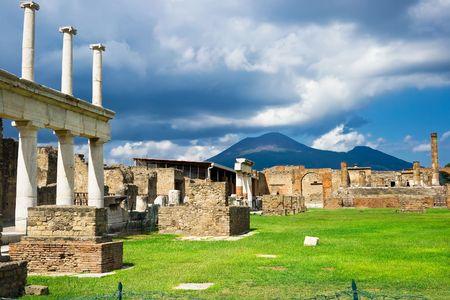 Pompeii Romeinse ruïnes na de uitbarsting van de Vesuvius, Italië Stockfoto