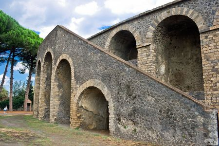 Ruins of a ancient amphitheater in Pompeii, Italy photo