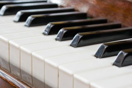 Closeup perspective view of a piano keyboard Stock Photo - 4727840