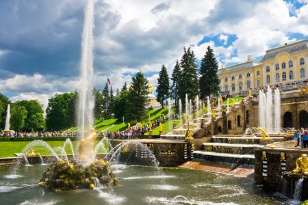 Fountain and Palace in Petrodvorets - Peterhof, Saint Petersburg, Russia Stock Photo