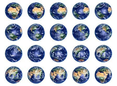 Big Earth Globes collection on white, high res pictures photo