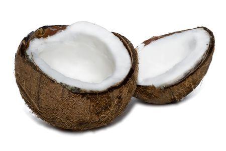 Fresh coconut on white isolated background photo