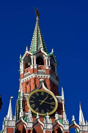 The famous Spasskaya tower with its ruby star, Moscow. Russia photo