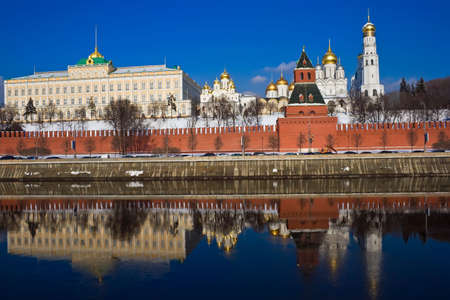 The red brick walls of famous Kremlin in Moscow with its churches Stock Photo - 4792790