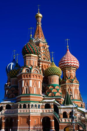 Architectural details of St Basils Cathedral on Red Square, Moscow, Russia photo