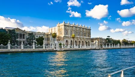 Dolmabahce palace, view from Bosporus, Istanbul, Turkey Stock Photo