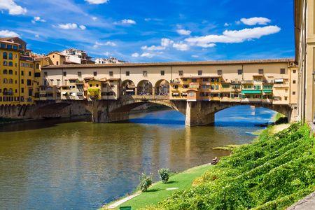 Anciant brug Ponte Vecchio in Florence. Italië. Stockfoto