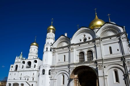 Uspenski cathedral and Ivan the Great bell tower in Kremlin, Moscow photo