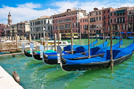 Gondola boats on Grand Canal in Venice, Italy Stock Photo - 4807821