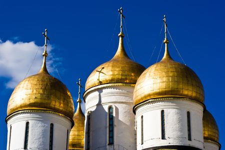 Domes of the Dormition Cathedral, Moscow Kremlin photo