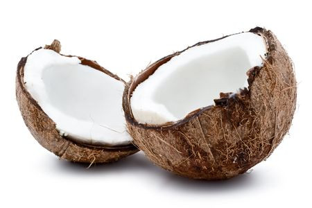 copra: Fresh coconut on white isolated background