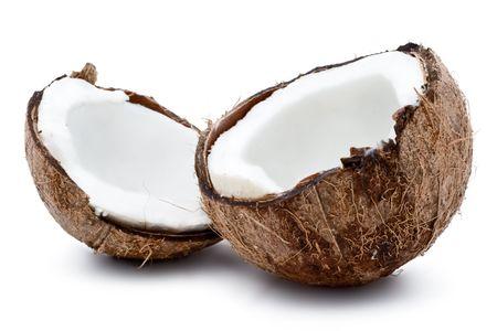 Verse kokosnoot geïsoleerd op witte achtergrond Stockfoto