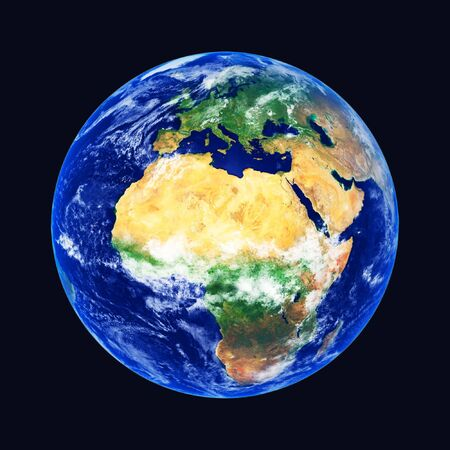 planisphere: Earth Globe, Africa and Europe, high resolution image Stock Photo